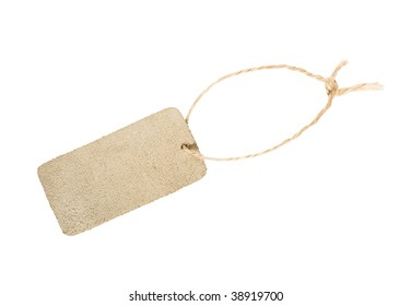 Blank leather tag isolated on white