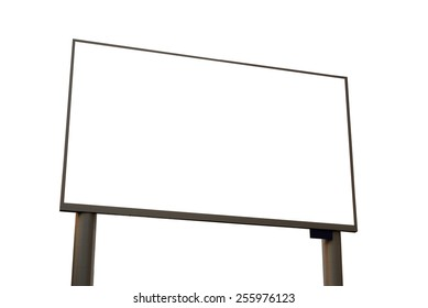 blank led advertising billboard in the city  isolated on white with clipping path.