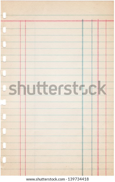 photograph relating to Free Printable Ledger Paper identified as Blank Ledger Paper Sheet Ripped Out Inventory Image (Edit Previously