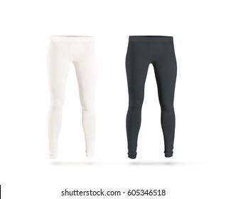 Blank leggings mockup set, black, white, isolated. Clear leggins template. Cloth pants design presentation. Sport pantaloons stretch tights model wearing. Slim legs in apparel.