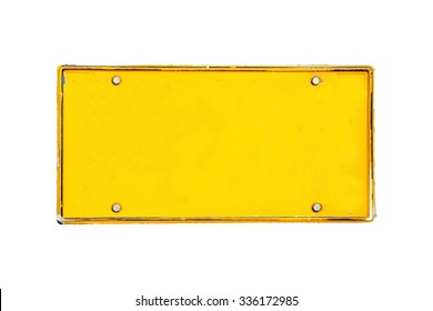 blank license plate on white background
