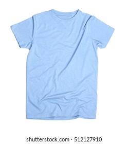 Blank light blue t-shirt on white background