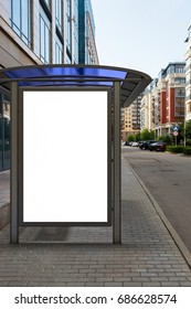 Blank light box mockup in bus stop. 3D illustration