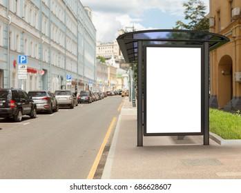 Blank light box mockup in bus stop. 3D illustration