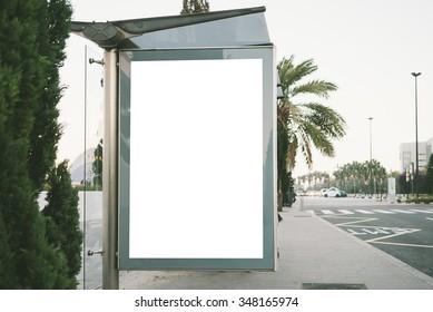 Blank light box on the bus stop