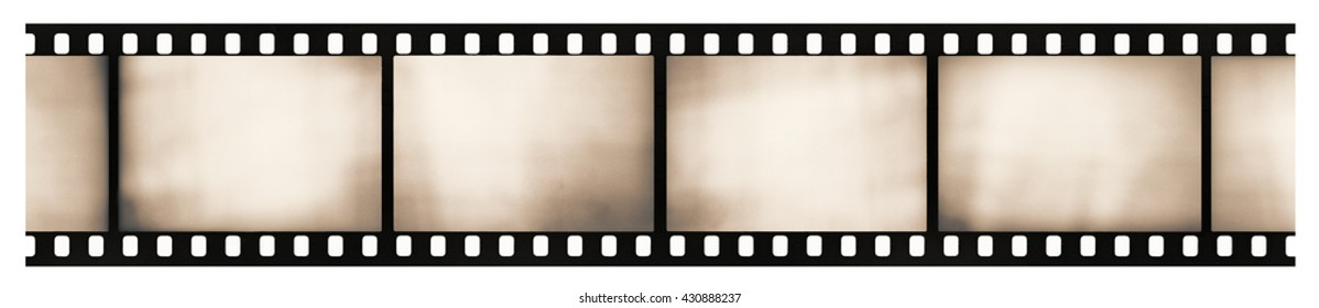 Blank light leaked highly detailed real vintage 35mm black-and-white negative film frame, sepia toned, hard grain, dust and scratches visible, isolated on white background