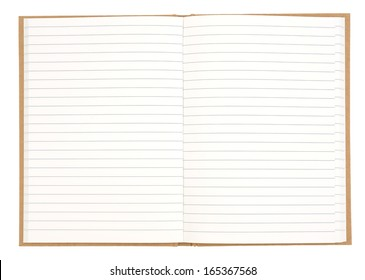 Blank lined exercise book isolated on white background