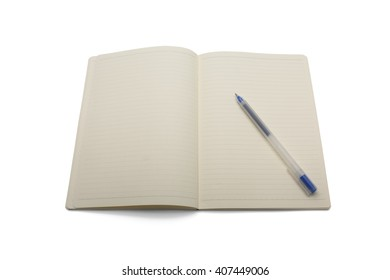 Blank lined notebook with blue pen isolated on white background