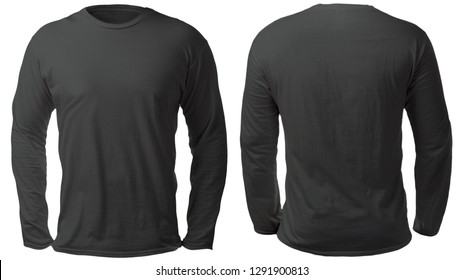 Blank long sleeved shirt mock up template, front and back view, isolated on white, plain black t-shirt mockup. Tee sweater sweatshirt design presentation for print.