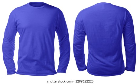 Blank long sleeved shirt mock up template, front and back view, isolated on white, plain blue t-shirt mockup. Tee sweater sweatshirt design presentation for print.
