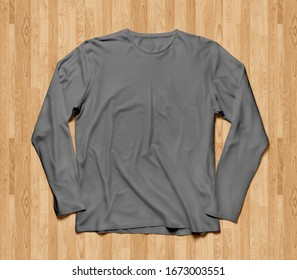Blank long sleve shirt mock up template, front view, plain grey t-shirt mockup. Long sleeved tee design presentation for print.