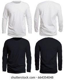 Blank long sleve shirt mock up template, front and back view, isolated on white, plain black and white t-shirt mockup. Long sleeved tee design presentation for print.