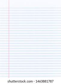 Blank loose leaf notebook paper background