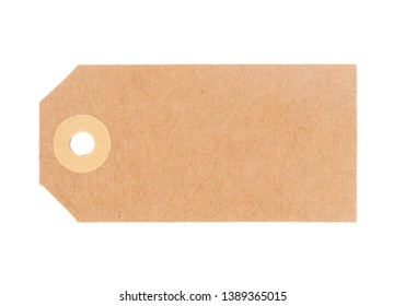 Blank luggage tag, label. Traditional brown cardboard. Isolated on white background. Without string.
