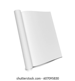 Blank magazine. 3d illustration isolated on white background
