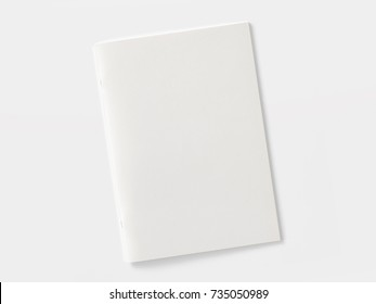 Blank Magazine or Brochure isolated on white. Front cover top view. Mockup template to your design.