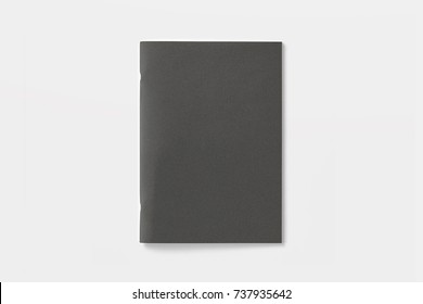 Blank Magazine or Brochure isolated on white. Black  cover top view. Mockup template to your design.