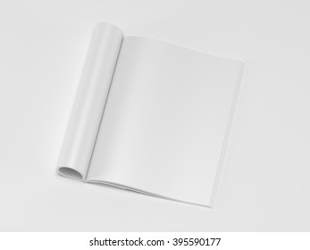 Blank magazine isolated on white background 3d render (mockup design)