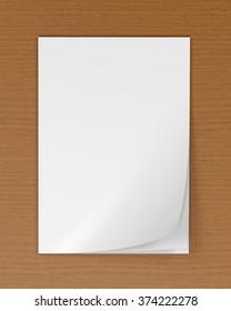 Blank magazine on wooden table 3d render (mockup design)