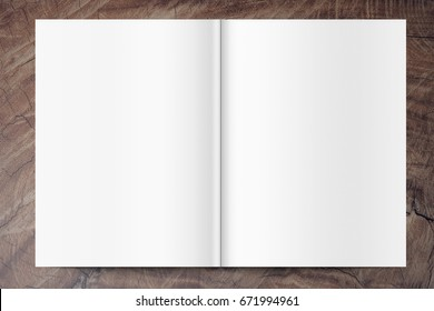 blank magazine template on the wooden background