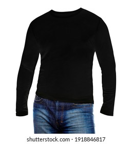 Blank man black long sleeves shirt with blue jeans on white background mockup template. Sweater sweatshirt design for print.