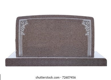 Blank marble tombstone with floral design, isolated on white