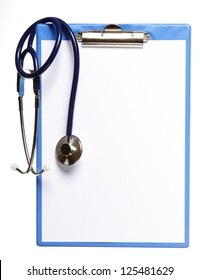Blank medical clipboard with stethoscope on white background