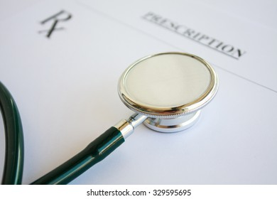 Blank medical prescription with stethoscope