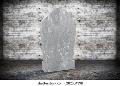 Blank Memorial Gravestone on grunge background
