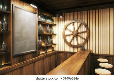 Blank menuboard in wooden pub interior with wheel on the wall. Mock up, 3D Render