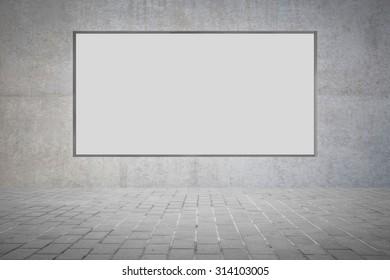 Blank metal billboard on concrete wall background
