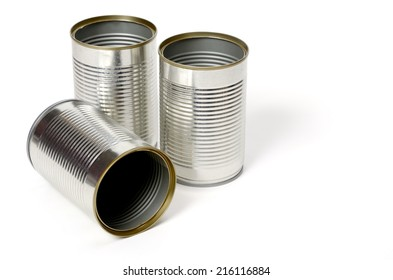 Blank metal can isolated on white background