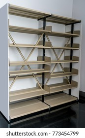 Blank metal shelf for books or docuement in office or library
