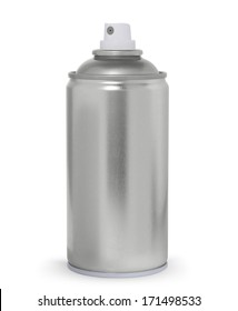 Blank metal spray can, isolated on white background