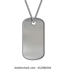 Blank metal tags hanging on a chain. ID military soldier. Isolated on white background. Stock illustration.