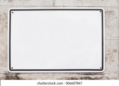 blank metal white on old cement brick background