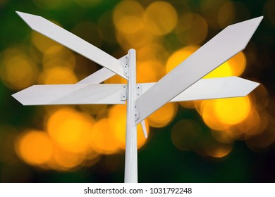 Blank metal white signage, empty guidepost, sign isolated on neutral background, multi-direction guidepost