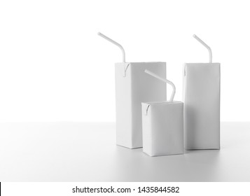 Blank milk or juice carton boxes on white background for print design and mock up