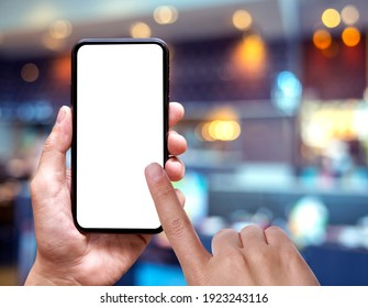 blank of mobile phone screen at coffee shop