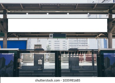 Blank mock up banner long media light box at sky train station. clipping path included.