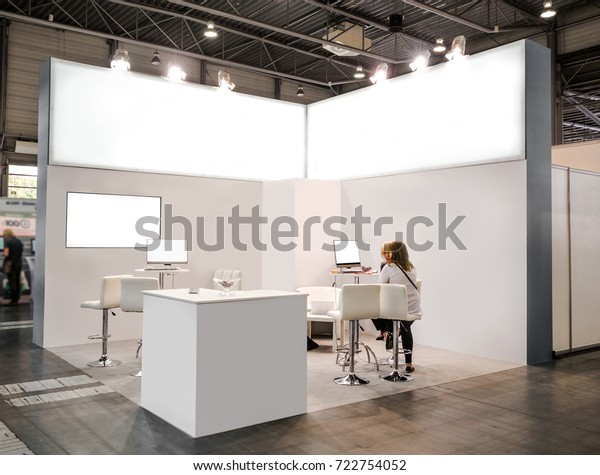 Creative Booth Exhibition : Blank mock creative exhibition stand design stock photo edit now