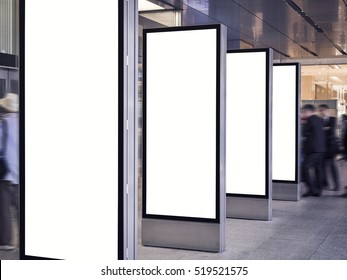Blank mock up Light Box set Template Vertical sign stand display indoor