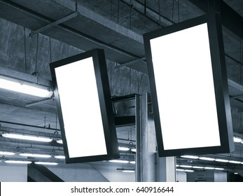 Blank mock up Light Box Template Vertical sign Media Display indoor