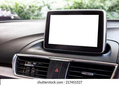 blank modern car's display screen
