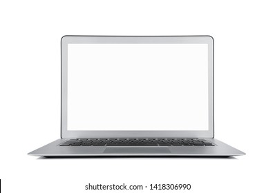 Blank modern laptop isolated on gray background with clipping path for the screen