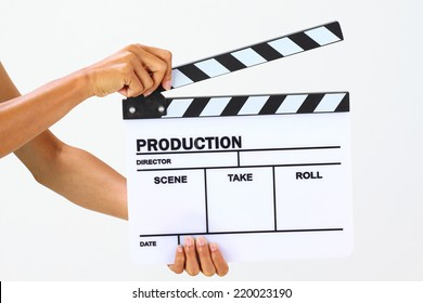 Blank movie clapper board, slate film.