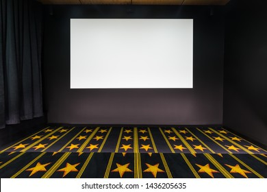 Blank movie film screen in home cinema