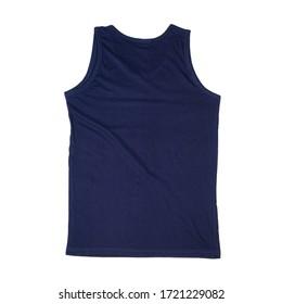 Blank navy blue Tank Top fold Shirt Mock-up for man