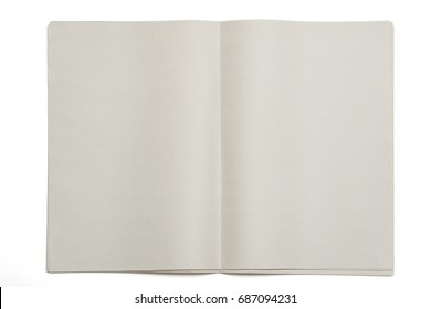 Blank newspaper on isolated background.