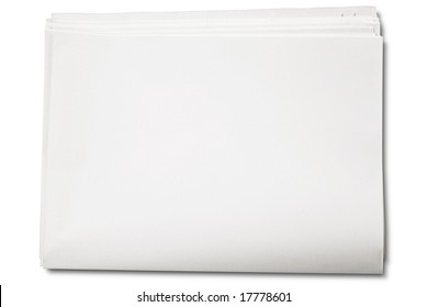 Blank newspaper on white - with clipping path